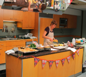 Jane teaching a cooking class